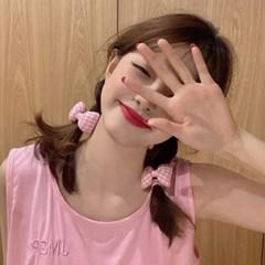[2개세트] 삐삐오 분홍체크 머리끈 헤어밴드_(2561453)