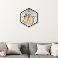 월아트 헥사곤 벽시계(숲속) 벽걸이 디자인시계