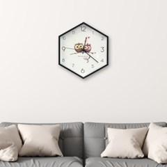 월아트 헥사곤 벽시계(부엉이) 인테리어시계