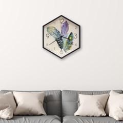월아트 헥사곤 벽시계(깃털) 인테리어시계