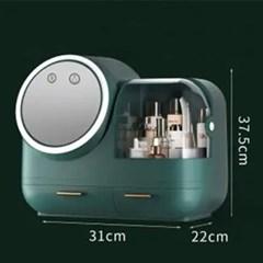 다용도 LED 거울 무선 선풍기 기능 화장품 수납함