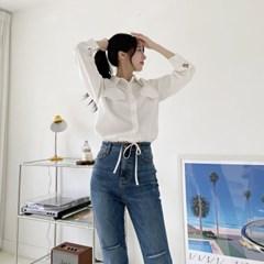 여자 나들이룩 깔끔한 빈티지 면접 회사원 포켓 크롭 셔츠
