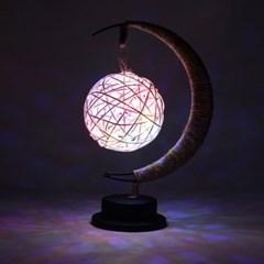 초승달 라탄볼 LED 무드등(레인보우) 무선 선물 수면 테이블조명