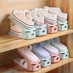 3단 높이조절 다양한 슈즈 깔끔 신발정리대 - 10개 세트 - 핑크
