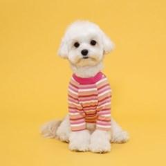 플로트 레인보우스트라이프티셔츠 강아지옷 핑크