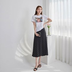 여자 여름 하이틴 감성 프린팅 베이직 반팔 티셔츠