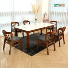 아슬로바 6인 통세라믹 원목식탁SET(의자형) KHD-957S