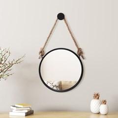 빈티지 스트랩 벽거울(30cm) (블랙)  원형 현관거울