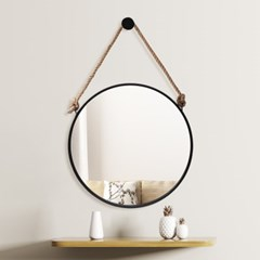 빈티지 스트랩 벽거울(50cm) (블랙) 걸이식거울