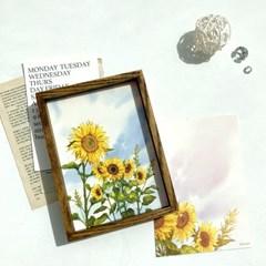 해바라기 - 수채화 감성 꽃 엽서 5x7인치