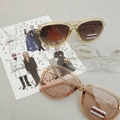 둥근 투명 가벼운 도수없는 데일리 패션 선글라스