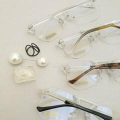 투명 무테 사각 UV400 가벼운 도수없는 패션 안경