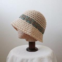 컬러 배색 라피아 니트 벙거지 모자 버킷햇 (3color)