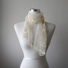들꽃 자수 시스루 레이스 얇은 여성 스카프 (2color)
