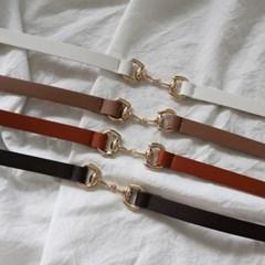 금장 고리 장식 버클 원피스 자켓 얇은 가죽 슬림 벨트 (5color)