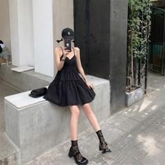 여자 여름 섹시무드 블랙 캉캉 20대 30대 미니원피스