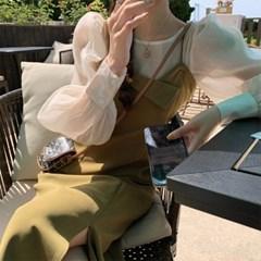 여자 여름 웜컬러 블라우스 세트 시스루 슬립 롱원피스