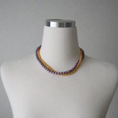 컬러 원석 구슬 비즈 두줄 목걸이 (3color)