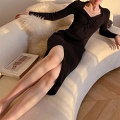 여자 신축성 좋은 몸매보정 골지 꽈배기 롱원피스