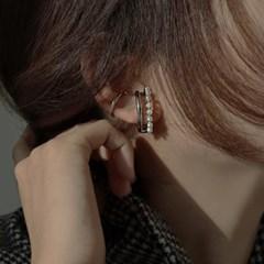두줄 이어커프형 귀에 딱붙는 진주 여자 귀걸이