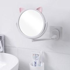야옹이 부착식 벽거울(화이트) / 욕실거울