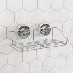 클린바스 흡착식 욕실선반 실버 화장실 정리 선반