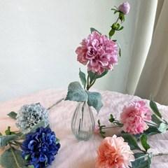 세송이 장미 조화가지+유리화병 set 5color