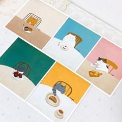 빵과 고양이 포스터 5종
