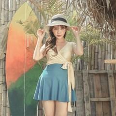 여자 여름 비치 브이넥 랩 치마 원피스 수영복