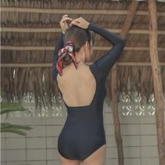 여자 여름 비치 브이넥 뒷트임 원피스 수영복