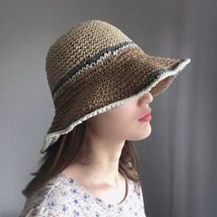 넓은챙 와이어 라피아 지사 밀짚 UV차단 모자 (2color)