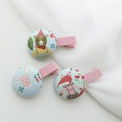 패턴거즈디자인 유아 단추집게핀 10종 랜덤발송 세트 아기머리핀