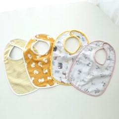 꿈두부 초기이유식턱받이 패턴 옐로우 4종세트 아기 거즈침받이