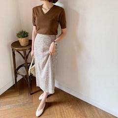 여자 데일리 슬림 여리핏 브이 반팔 깔끔한 니트티셔츠