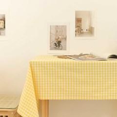 비비드 멜란 체크 식탁보-옐로우