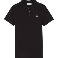 메종키츠네 트리컬러 폭스 패치 폴로 티셔츠 블랙