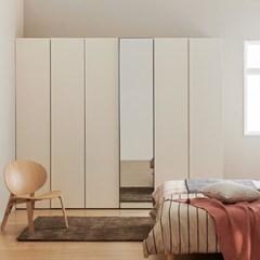 한샘 바이엘 소프트 거울옷장세트 크림화이트 150cm(높이216cm) 선반