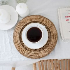 [반짝조명]  라탄 원형 데코 접시(26cm)