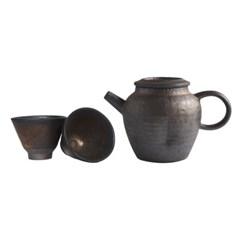 덤벙 보조개 다구 세트 - Plop Dimple Teapot & Single Teacup
