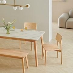 한샘 도노 세라믹 스칸디 4인 식탁세트(의자2,벤치1 포함)
