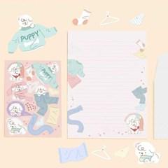 [또자] 빨래댕댕 편지지 세트 (편지지+편지봉투+데코스티커)