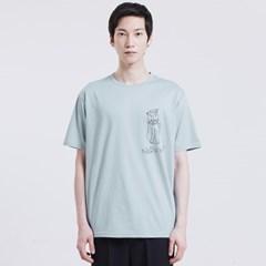 [방실이 시리즈] 방실이 happy 숏슬리브 실켓 티셔츠 [SKY-BLUE]