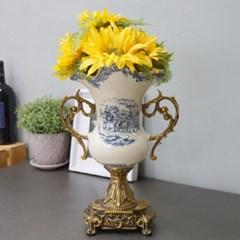 앤틱 명화 손잡이 화병 꽃 도자기 인테리어 디자인 화병