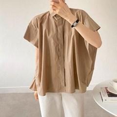 봄 오버핏 카라 히든버튼 캡소매 바스락 셔츠 블라우스