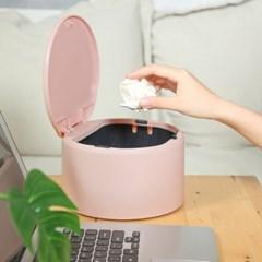 파스텔 원터치 반자동 휴지통 핑크 테이블 쓰레기통