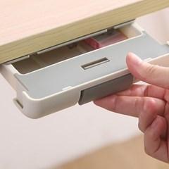 책상밑 부착식 수납 정리함 슬라이딩 틈새 미니 서랍