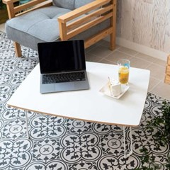 Simple 사이드테이블 우드화이트 라운드 80x60x30cm