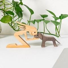 강아지 원목 오브제 강아지와 나 조각품 인테리어소품 장식품
