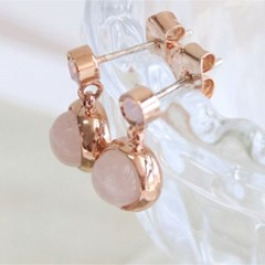 Silver92.5 로즈골드 핑크빛 장미석 귀걸이