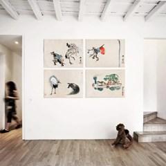 패브릭 포스터 학 거북이 그림 액자 카와나베 쿄사이 no.1